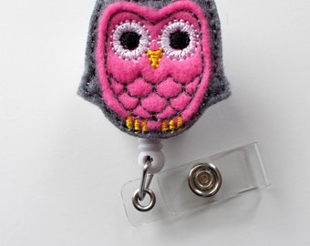 Pink and Gray Owl - Cute Badge Holder - Nurses Badge Holder - Felt Badge Holder - Nursing Badge Holder - Cute Badge Reel - RN Badge Reel