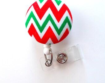Christmas Chevron Striped - Cute ID Badge Holder - Holiday Badge Reel - Nurses Badge Holder - Hospital Badge - Teacher Badge - RN Badge Reel