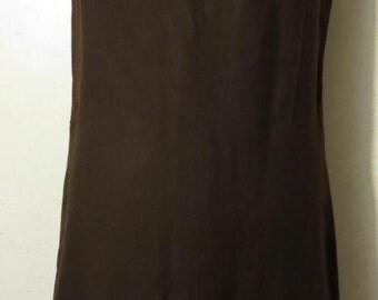 Vtg 60s Dark Brown Wool Sleeveless Square Arm A-Line Shift Jumper