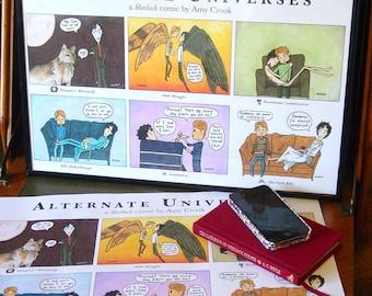 Sherlock BBC - Alternate Universes Comic - 11x17 Print - Sherlock Holmes John Watson