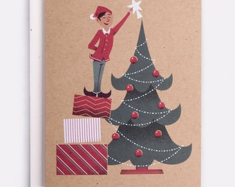 Elf Holiday Card -  100% Recycled French Paper Speckletone Kraft, Vintage Inspired