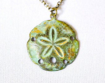 Sand Dollar Necklace, Green Patina Teal Verdigris Charm, Sea Biscuit, Nautical Jewelry, Beach Wedding