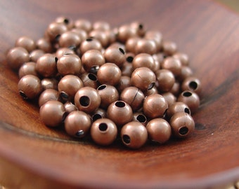 100 pcs 4 mm Antiqued Copper Finished Steel Beads