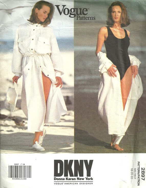 1990s DKNY bodysuit and hooded dress / coverup pattern Vogue 2897
