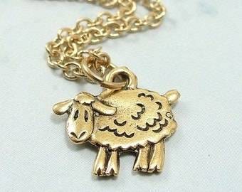 Sheep Necklace, Gold Plated Sheep Charm on a Gold Cable Chain