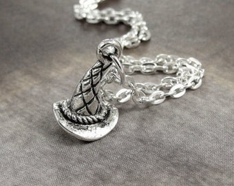 Tiny Witch Hat Necklace, Silver Witches Hat Charm on a Silver Cable Chain