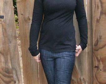 Turtleneck Sweatshirt,Organic Cotton Sweatshirt, Black Sweatshirt, Cowl Neck, Eco Friendly, Women's sweatshirt, French Terry Sweatshirt