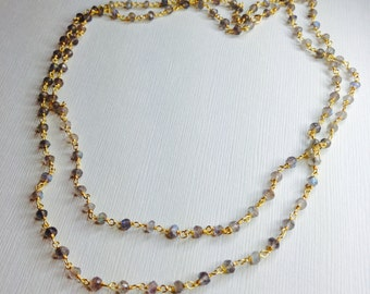 Labradorite Gemstone Gold Necklace, Rosary Chain Necklace