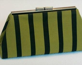 Clutch Handbag Purse - Black and Green Fabric Purse - Day to Evening Bag - Unique Screen Printed Fabric Bag