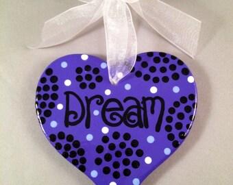 Hanging Heart Plaque - Dream (Purple)