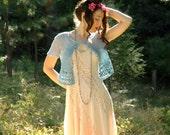 Cotton Crochet Shrug... Hand Dyed... Open Weave Layering Piece... MERMAID'S GARDEN (s/m)