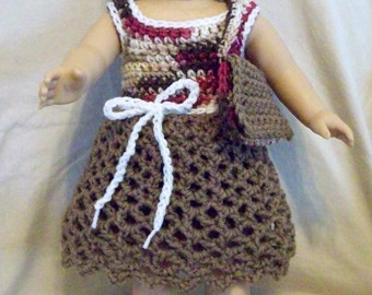 For 18 inch dolls: four-piece crochet set brown, multi & white --dress, bag, shoes--Outfit