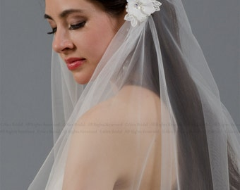 Ivory juliet cap wedding veil with venice lace flowers - elbow length