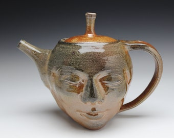 Face Teapot Serving Sculpture with Bas Relief Buddha, Soda Fired Art Pottery Head