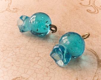 Blue Glass Pomegranate lampwork Bead Large Pendant DIY jewelry making craft supplies Beach Home Decor Good Luck Charm