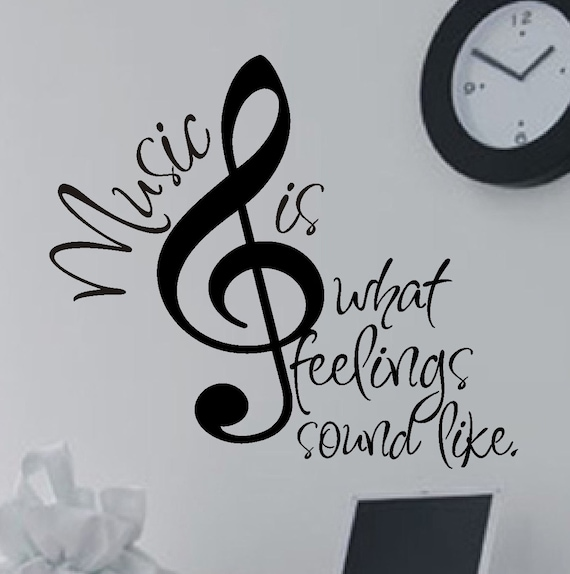 Music is Quote, Treble Bass Clef Decal,  Vinyl Wall Lettering, Vinyl Wall Decals, Vinyl Decals, Vinyl Lettering, Wall Decals, Music Decal