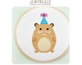 Party Animal Hamster Cross Stitch Pattern Instant Download, Happy Birthday