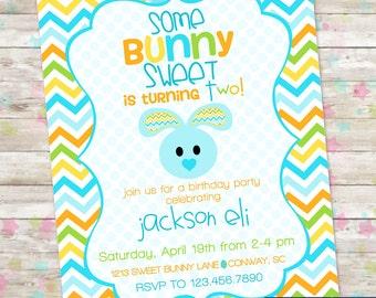 Easter Birthday Invite, Bunny Birthday, Somebunny Sweet, Easter Egg Hunt, Boy Birthday, Easter Boy Birthday, Printable Invitation