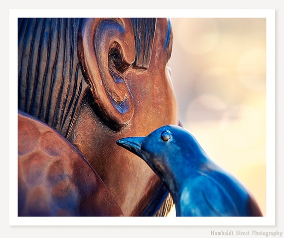 A Little Birdie Told Me - St Francis Photograph - New Mexico Photo - Southwestern Art Print - Bird Art