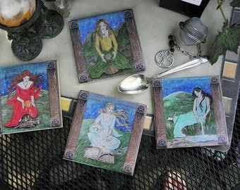 Set of 4 Elemental Coasters, Earth, Air, Fire, and Water