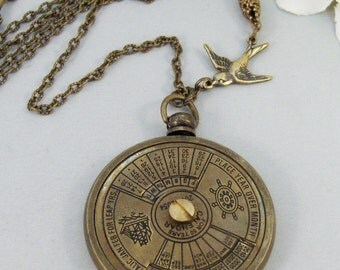 Nautical Calendar,Locket,Necklace,Brass Locket,Steampunk,Antique Locket,Compass,Calendar,Vintage.Sun,Sun Calendervalleygirldesigns.