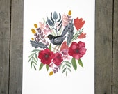 Spring Bouquet with Black Bird Art Print 8x10