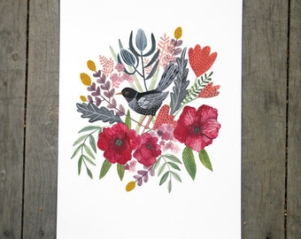 Spring Bouquet with Black Bird Art Print 8x10