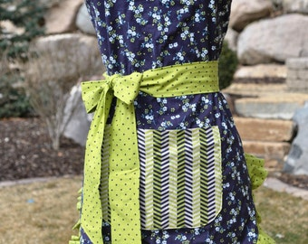 Navy Vintage Floral and Chevron Women's Reversible Apron