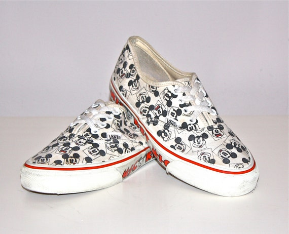 VINTAGE Mickey Mouse VANS Shoes Punk New Wave Skate Sneakers sz 8.5