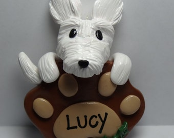 Custom Dog and Paw Print Clay Ornament