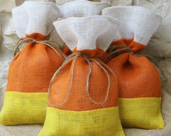 Burlap Gift bags, Set of FOUR, As seen in Country Living October 2014! Treat Bags, Candy Corn, Halloween, Orange, Yellow, Thanksgiving.