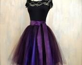 Womens aubergine tulle skirt lined in deep purple satin. Deep plum adult tutu skirt. High waisted skirt