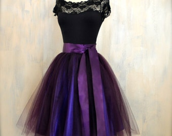 Womens aubergine tulle skirt lined in deep purple satin. Deep plum adult tutu skirt. High waisted skirt