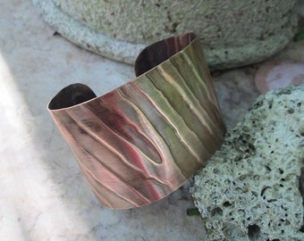 copper embossed zebra cuff