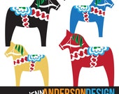 Dala Horse Clip Art in red, black, yellow, and blue, instant download, digital printable