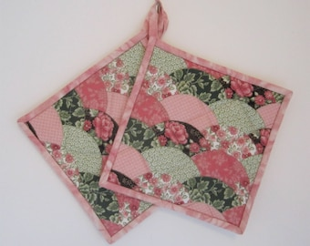 Quilted Potholders Set of 2 in Pink and Lime Green, Quiltsy Handmade