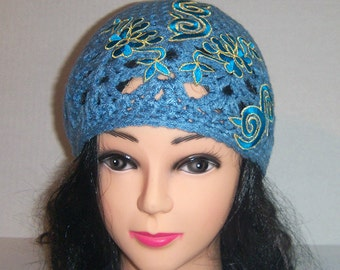 Embellished Crochet Blue Beanie Hat With Teal Swirls and Gold Trim
