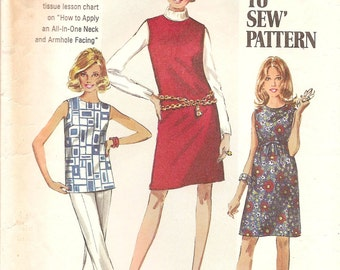 1960s Shift Dress Blouse Pattern - Vintage Simplicity 8297 - Bust 34