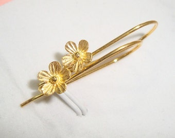 2 pairs, 24x12 mm,Handmade 24K Gold Vermeil Sterling Silver Lotus Blossom Floral Earwires, EW-0014