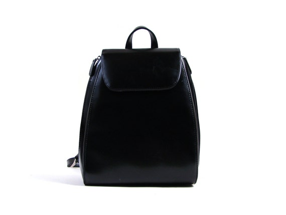 Black Leather Backpack Small | Cg Backpacks
