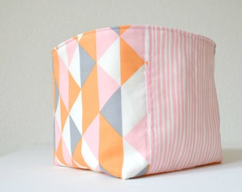 Organic Fabric Basket - Modern Geometric in Soft Gray, Orange, Pink and White