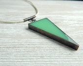 Mint Resin Copper Wedge Pendant on Pearl Leather Choker