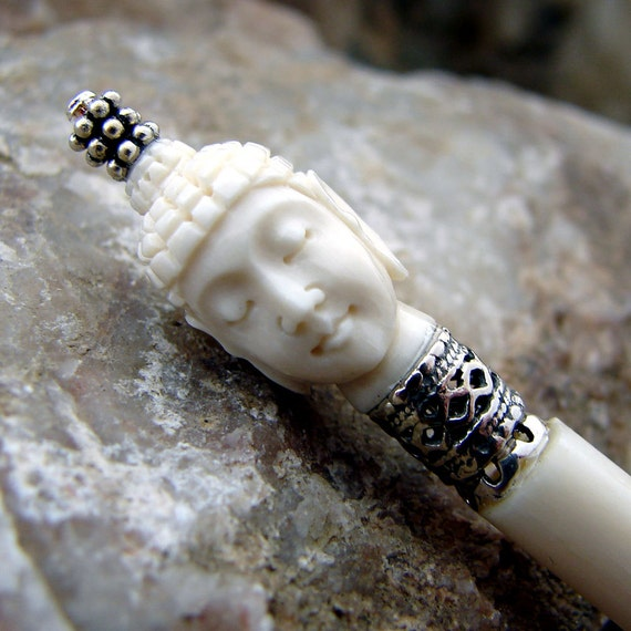 Hair stick hand carved bone hairpin buddha with sterling