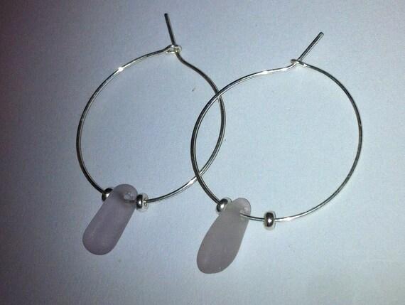 RESERVED for Jen Genuine Beach Glass; Sterling Silver & Light Pink Sea Glass Beach Hoop Earrings