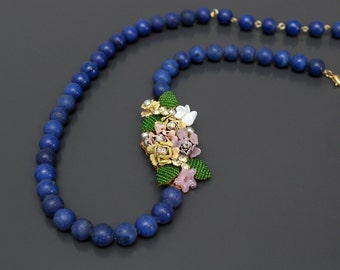 Lilies on a River of Lapis Repurposed Necklace from Vintage Rhinestone Brooch.