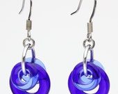 Chainmaille Earrings- Looped- Chainmaille with Glass- Cobalt/Light Cobalt/Aluminum