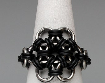 Chainmaille Ring- Rubber Bloom- Chainmaille with rubber- Bright Gunmetal/Black
