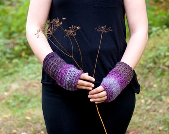 Wrist warmers purple stripes in soft wool crocheted fingerless gloves in lavender aubergine hues