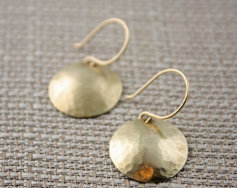 Gold Earrings, Brass Hammered and Domed Disks on Hand Made 14k Gold Filled Ear Wires