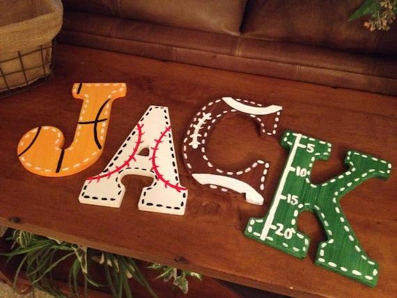 Sports Fan Large Wooden Letters Customized By MelanieLupien